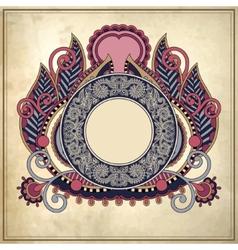 Floral circle frame on grunge paper background vector
