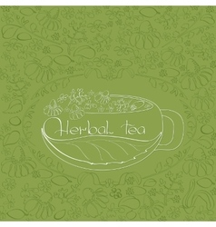 Hand drawn white silhouette herbal tea theme vector image vector image