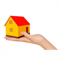 hand with house vector image vector image