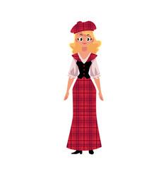 Scottish woman in national costume tartan beret vector