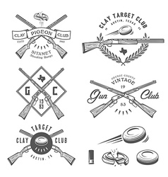 Vintage clay target labels emblems design elem vector