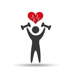 Athlete silhouette barbell weights heart vector