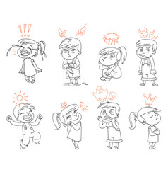 Basic emotions funny cartoon character vector