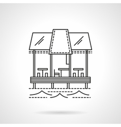 Cafe on pier flat line icon vector image