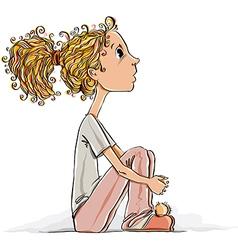 Cute little girl sitting on a floor vector image vector image