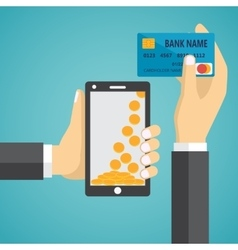 Man hands holding mobile phone and credit card vector image vector image