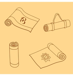 set of yoga mat doodles vector image vector image