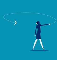 A businesswoman looking at boomerang coming vector