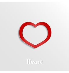 Abstract heart 3D paper icon vector