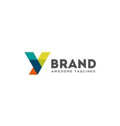 abstract trend polygon letter y logo design vector image
