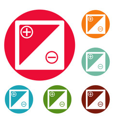 accumulator icons circle set vector image