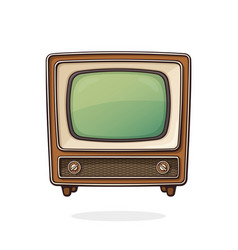 analogue retro tv with wooden body vector image