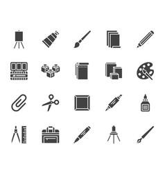 Art supplies flat glyph icons set oil paints vector