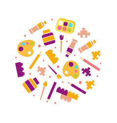 art supplies round shape kids education art vector image