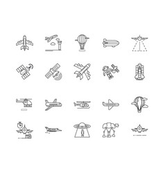 aviation line icons signs set outline vector image