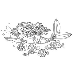 beautiful little mermaid girl swim with fish vector image