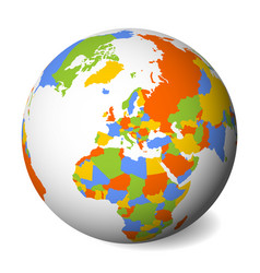 blank political map of europe 3d earth globe with vector image