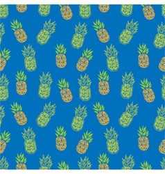Blue and orange pineapple geometric textile print vector image