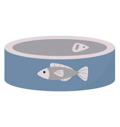 blue fish can on white background vector image