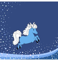 blue little horse vector image