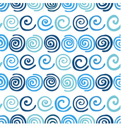 blue summer waves seamless pattern vector image