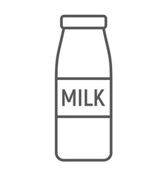 bottle of milk thin line icon drink and food vector image