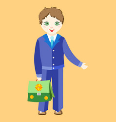 Boy schoolboy in uniform with a green girl vector
