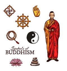 Buddhist monk and buddhism religion holy symbols vector