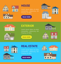 cartoon houses exterior banner horizontal set vector image