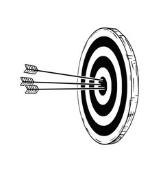 cartoon of target or clout with three bow arrows vector image
