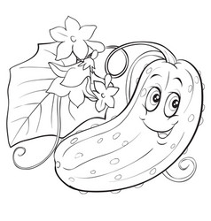 character a cucumber with big eyes lies vector image