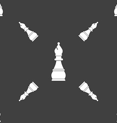 Chess bishop sign Seamless pattern on a gray vector