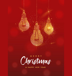 christmas and new year gold glitter greeting card vector image