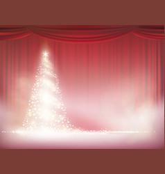 christmas tree on a background red curtain vector image
