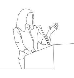 Continuous line drawing business woman speaker vector