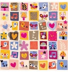 cute flowers birds hearts pattern 3 vector image