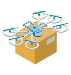 Delivery parcel box drone fulfilling order vector