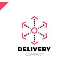 delivery six arrow logo circle in middle and dot vector image
