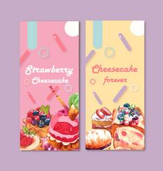 Dessert flyer design with strawberry cheesecake vector