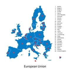 Detailed map european union and european vector
