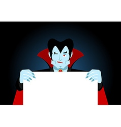 Dracula keeps clean sheet Vampire and white banner vector