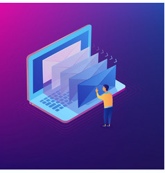 e-mailing notification isometric concept vector image