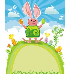 easter card with funny rabbit vector image