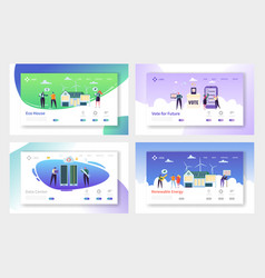 Eco house renewable energy landing page set vector