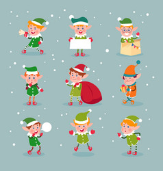 elf cartoon santa claus helpers dwarf christmas vector image
