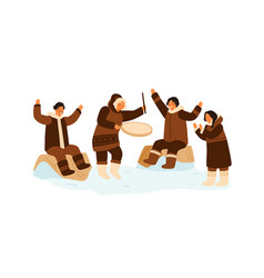 eskimo people clapping hands dance and play vector image