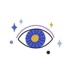 Esoteric magic evil eye among stars mystical vector