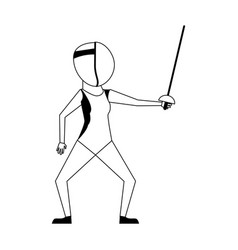 Female fencing athlete sport avatar icon image vector