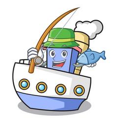 fishing ship mascot cartoon style vector image