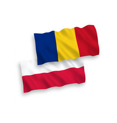 Flags romania and poland on a white background vector
